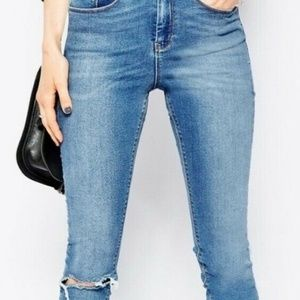 Asos Ridley High Waisted Skinny Jeans Distressed